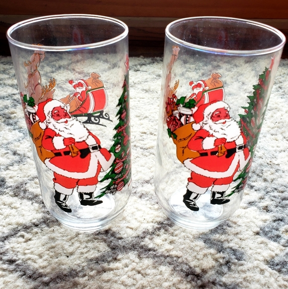 Vintage set of 2 Christmas Libby Juice Glasses•
